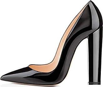a5fa365e837d28 Onlymaker Frauen Spitze Block Block Chunky Klassische High Heels Slip On  Schuhe Hochzeit Büro Party Pumpen