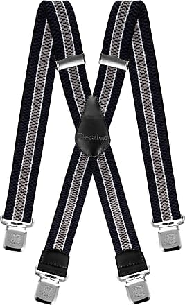 Decalen Mens Braces Very Strong Clips One Size Fits All X Style Heavy Duty Suspenders (Navy Blue White Silver)