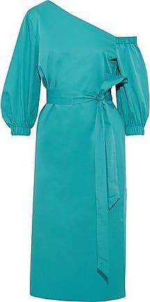 Tibi Tibi Woman One-shoulder Tie-front Cotton-poplin Dress Teal Size 0
