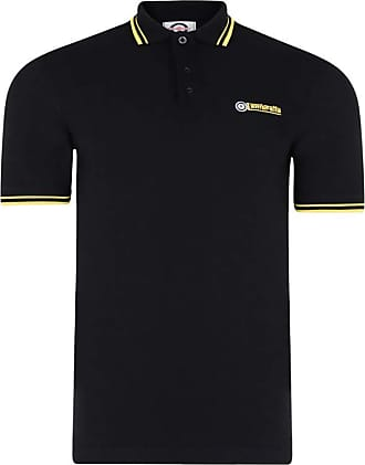 Lambretta Mens Classic Logo Target Short Sleeve Polo Pique Tee T-Shirts (3XL, Black Mustard)