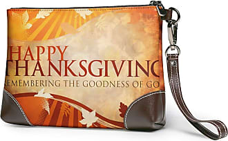 GLGFashion Womens Leather Wristlet Clutch Wallet Happy Thanksgiving Storage Purse With Strap Zipper Pouch