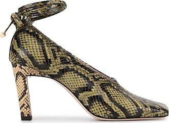 Wandler Sapato Isa Mule com efeito pele de cobra e salto 85mm - Verde