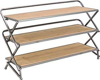 UMA Enterprises Inc. Deco 79 Contemporary Rectangular Iron Framed Wooden 3-Tier Accordion Shelf, Gray, Light Brown