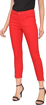 Vero Moda Calça Sarja Vero Moda Skinny Cropped Zíperes Vermelha