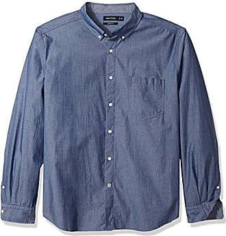 cf036a1324 Nautica Mens Standard Long Sleeve All Over Print Button Down Shirt, Marine  Blue, Medium