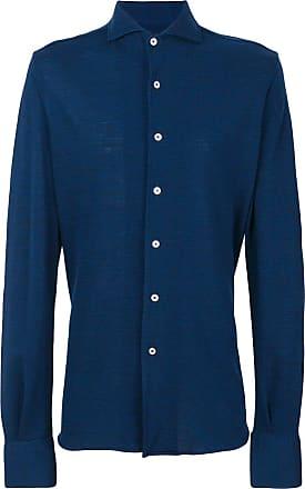 Canali spread collar shirt - Azul