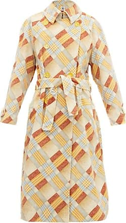 M Missoni Checked Upcycled Velvet Trench Coat - Womens - Burgundy Multi