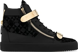 Giuseppe Zanotti Velvet and leather high-top sneaker with plate COBY