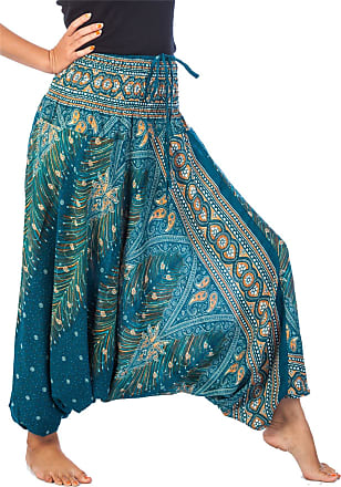 Lofbaz Womens Peacock 2 in 1 Harem Trousers Jumpsuit Teal Green XL
