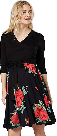 Happy Mama Womens Maternity Skater Dress 3/4 Sleeves 525p (Black with Red Roses, UK 12/14, L)