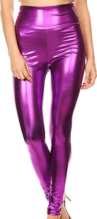 Sakkas 2616 Shiny Liquid Metallic High Waist Stretch Leggings - Purple - L