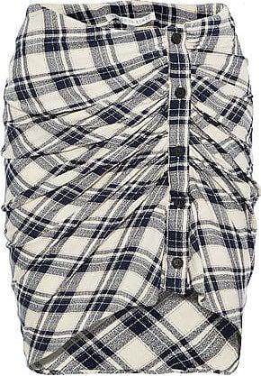 Veronica Beard Veronica Beard Woman Murphy Gathered Checked Jacquard Mini Skirt Navy Size 10