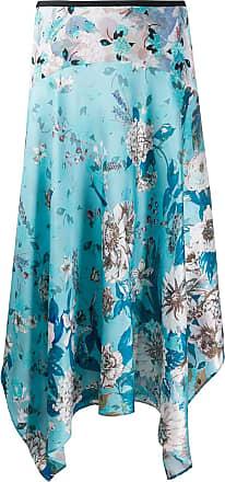 Diane Von Fürstenberg Saia assimétrica de seda com estampa floral - Azul