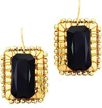 Tinna Jewelry Brinco Dourado Moldura (Preto)