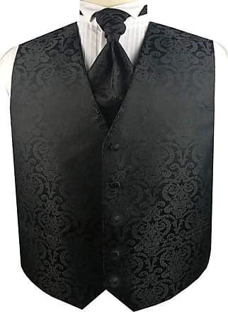 Generic Mens Tuxedo Wedding Paisley Waistcoat&Ascot Tie and Pocket Square (Black, 2X)