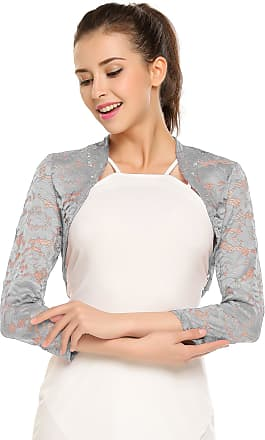 Meaneor Womens Bolero - Floral Lace Bolero with 3/4 Sleeves - Open-Front Bolero for Evening Dresses / Cocktail Dresses - - UK 16