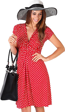 Krisp Polka Dot Dress Short Sleeve Twist Knot Front V Neck Mini Swing Dress Party Summer (Red [6488], 8), 6488-RED-08