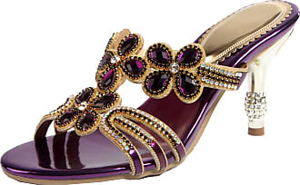 Find Nice Ladies Slip On Rhinestones Slippers Bride Evening Wedding 8CM Heel OL Sandals Purple UK 5.5