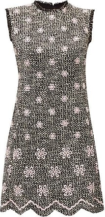 Giambattista Valli Embroidered-flower Bouclé-tweed Shift Dress - Womens - Black Pink