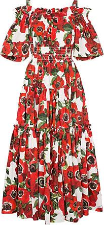 Dolce & Gabbana Vestido de algodão com estampa floral - Vermelho