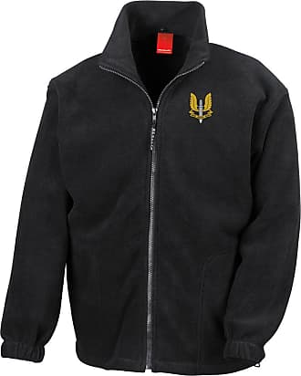 Military Online Special Air Service SAS Embroidered Logo - Official Full Zip Heavyweight Fleece Jacket Black