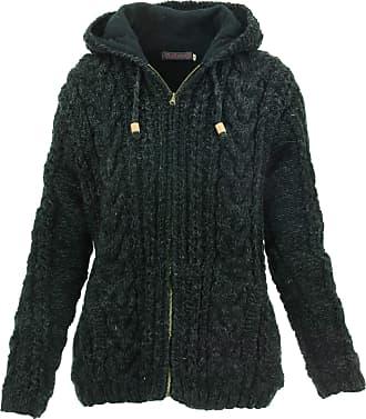 Loud Elephant Wool Cable Knit Hooded Jacket - Charcoal (Medium)