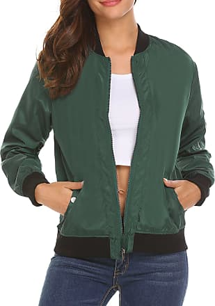 Zeagoo Womens Casual Retro Classic Biker Jacket Button Solid Zip Up Bomber Jacket Coat