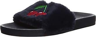 PJ Salvage Womens Lounge Slide Slipper, Denim, Medium