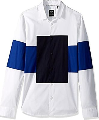 A|X Armani Exchange Mens Button Down Long Sleeve Shirt with Square Print Center, White, S