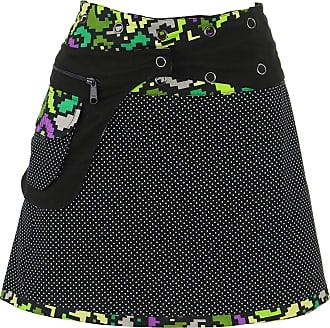 Loud Elephant Reversible Short Mini Popper Wrap Skirt with Detachable Pocket - Pixellated Space Flower
