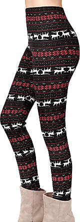 Yidarton Women Christmas Leggings Ladies Reindeer Printed Xmas Tree Stretchy Pants Trousers (XL, Black)