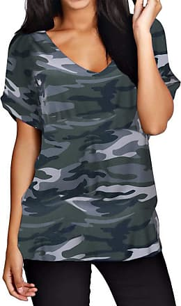 Zanzea Women Short Sleeve Tops Baggy V Neck Batwing Camouflage Base T-Shirt Summer Casual Loose Blouse Plus Size X-Camouflage 10-12