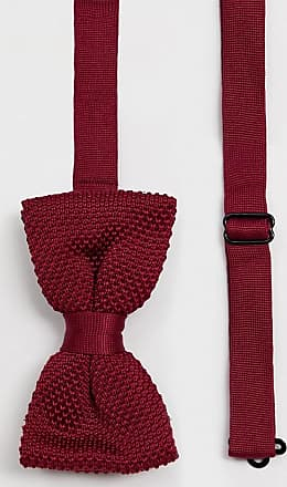 Twisted Tailor knitted bow tie in burgundy-Red