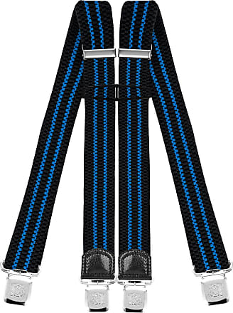 Decalen Mens Braces with Very Strong Clips Heavy Duty Suspenders One Size Fits All Wide Adjustable and Elastic X Style (Black Blue)