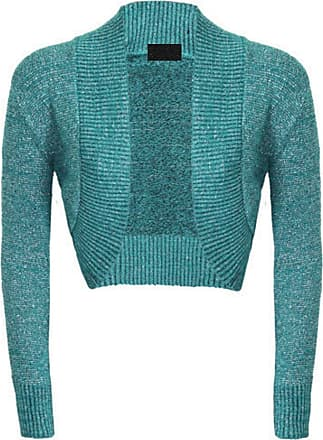 ZEE FASHION New Ladies Womens Long Sleeve Shiny Knitted Metallic Lurex Shrug Bolero Cardigan Top Size 8-65 Teal
