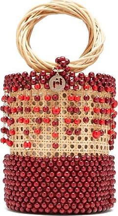 Rosantica Cora Beaded Wicker Bucket Bag - Womens - Burgundy Multi
