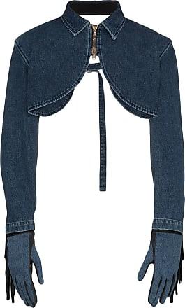 Diesel Bolero jeans com franjas e luvas - Azul