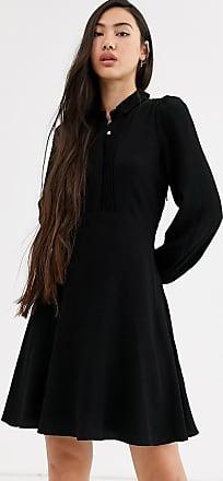 Whistles agata shirt mini dress with frill hem-Black
