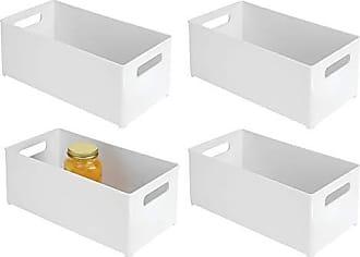 InterDesign Refrigerator and Freezer Storage Organizer Bins for Kitchen, 8 x 6 x 14.5, Set of 4, White