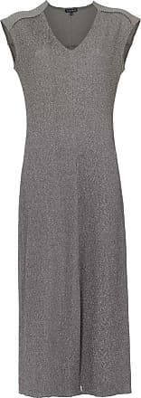 Alcaçuz Vestido midi Linear - Cinza