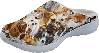 Coloranimal Unisex Women Men Slip on Sandals Funny Animal Dog Pattern Non Slip Mesh Lightweight Open Back Garden Clogs Tennis Footwear
