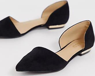 9e5b63a5766fc Raid Amy - Zweiteilige, flache Schuhe aus schwarzem Wildleder - Schwarz