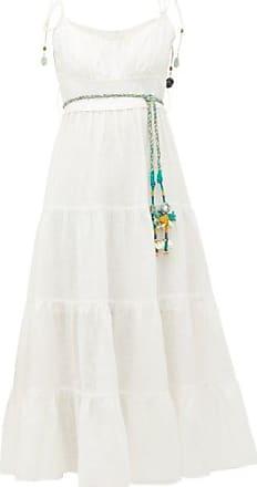 Zimmermann Edie Tiered Linen Midi Dress - Womens - Ivory