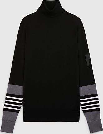 Neil Barrett Travel Striped Cuff Wool, Silk & Cashmere Turtle Neck