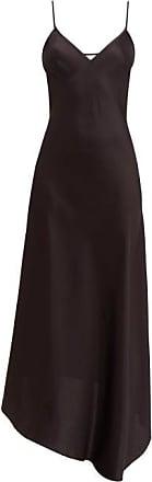 Raey Dip-hem Silk-satin Slip Dress - Womens - Black