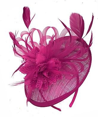 Caprilite Fuchsia Hot Pink Sinamay Disc Saucer Fascinator Hat for Women Weddings Headband Races