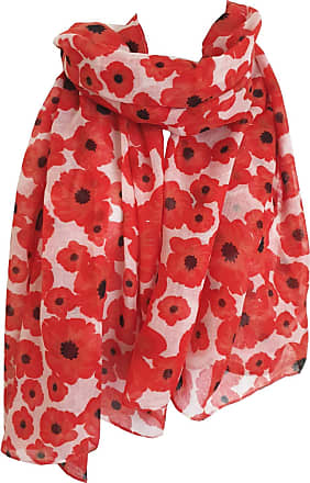 GlamLondon Poppy Scarf Red Poppies Printed Large Soft Flower Floral Ladies Womens Wrap (Red-White)