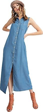 Anna Kaci Classic Sleeveless Blue Jean Button Down Denim Pocket Collar Shirt Dress, Medium Denim, Medium