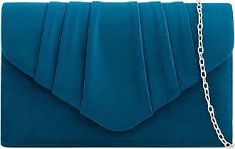LeahWard Womens Suede Clutch Handbags Purse Wedding Bags 308 (Teal)