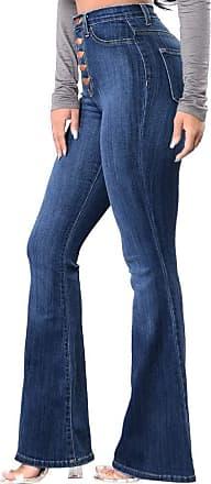 JERFER Women Halloween Print Flowy Wide Leg High Waist Long Jeans S-XL Denim Pants